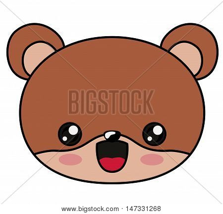 Beaver with kawaii face icon. Cute animal cartoon and character theme. Isolated design. Vector illustration