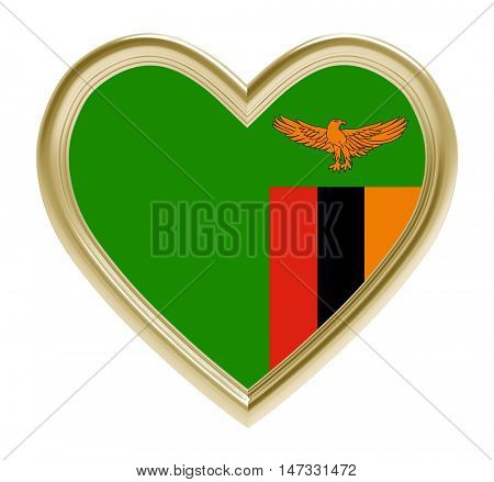 Zambia flag in golden heart isolated on white background. 3D illustration.