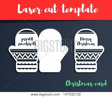 Laser Cut Template. Christmas Card. Mittens Silhouette For Cutting. Brush Lettering. Christmas Paper