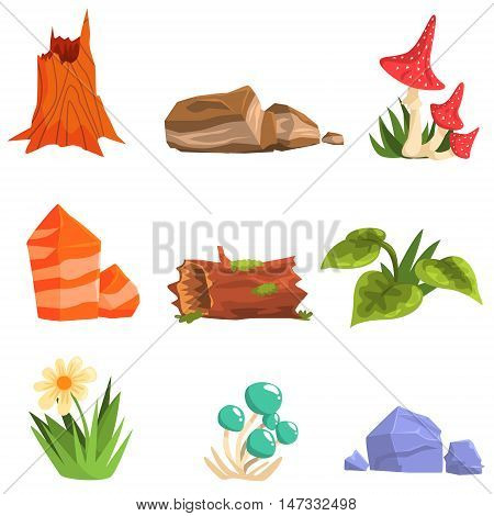 Forest Landscape Natural Elements, Plants And Mushrooms. Isolated Cartoon Style Simple Illustrations Set On White Background.