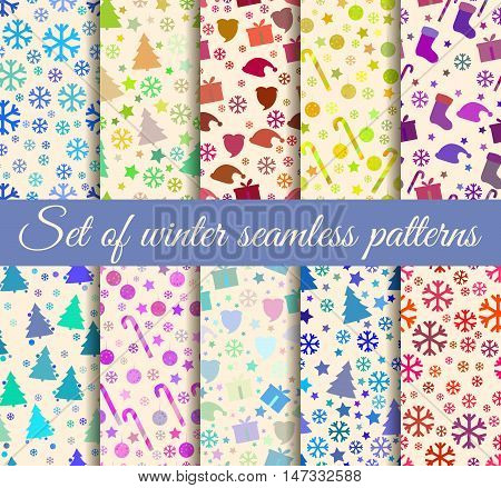 Christmas Seamless Patterns. Pattern With Christmas Symbols. Vector Illustration.