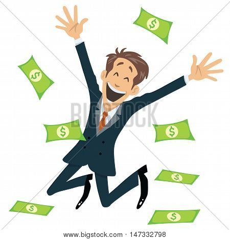 Successful Businessman Smiling And Jumping With Money Fly Away Vector