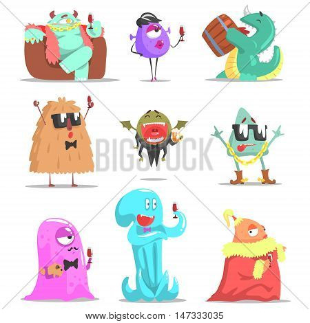 Monsters Attending Posh Glamorous Party. Funky Creatures Colorful Characters With Party Attributes On White Background.