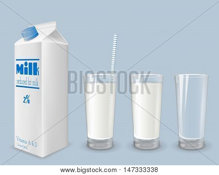 Milk carton and glass of milk. Mock up design
