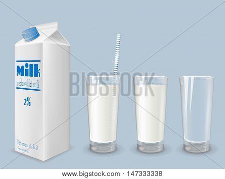 Milk carton and glass of milk. Mock up design