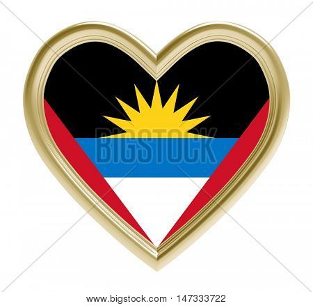 Antigua and Barbuda flag in golden heart isolated on white background. 3D illustration.