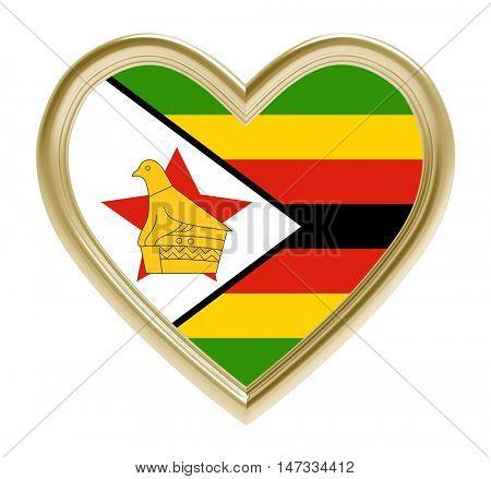 Zimbabwe flag in golden heart isolated on white background. 3D illustration.