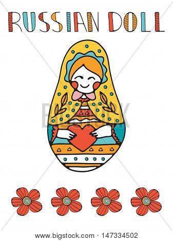 Colorful card with cute russian doll. Illustration in vector format