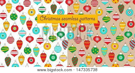 Two christmas seamless pattern on a white background and a cardboard background. Different kinds of Christmas balls. Funny background for Christmas and New Year. Vector illustration.