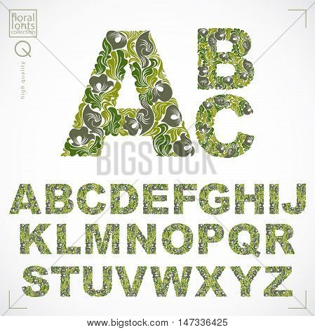 Floral alphabet sans serif letters drawn using abstract vintage pattern spring leaves design. Vector font created in natural eco style.