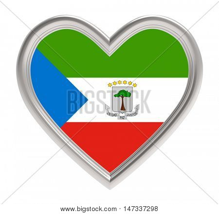 Equatorial Guinea flag in silver heart isolated on white background. 3D illustration.