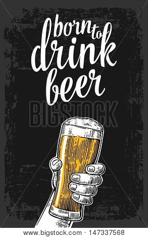 Male hand holding a beer glass. Vintage vector engraving illustration for web, poster, invitation to party. Isolated on dark background