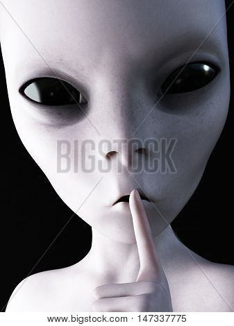 Closeup portrait of an alien hushing with its finger on its lips 3D rendering. Black background.