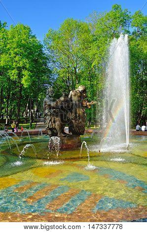VELIKY NOVGOROD RUSSIA - MAY 25 2015. Fountain of Sadko and Princess Volkhova - heroes of Novgorod legends Veliky Novgorod Russia