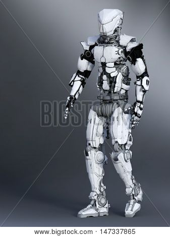 A futuristic robot in a walking pose 3D rendering. Gray background