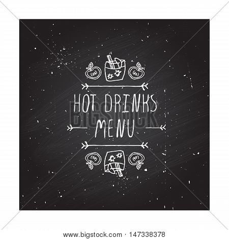 Hand-sketched typographic element with apple, apple cider and text on chalkboard background. Hot drinks menu