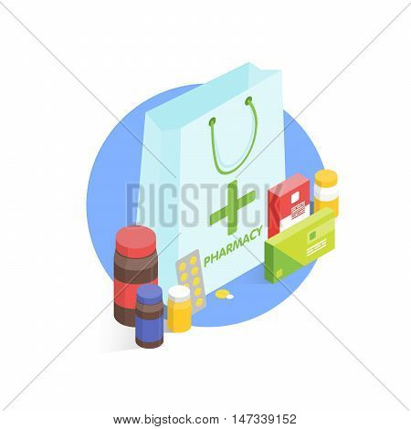 Modern pharmacy and drugstore concept. Isometric Vector simple illustration.