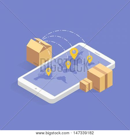 Online delivery tracking concept isometric icon. Vector illustration. Smart post technology on digital tablet or mobile phone. Track checker application.