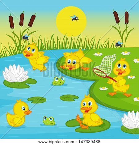 ducklings playing in lake - vector illustration, eps