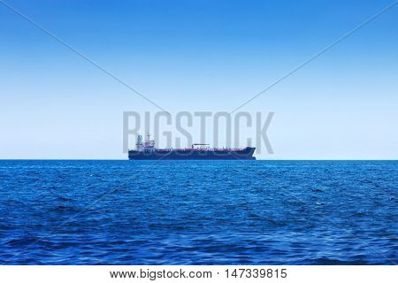 modern tanker in the ocean bay