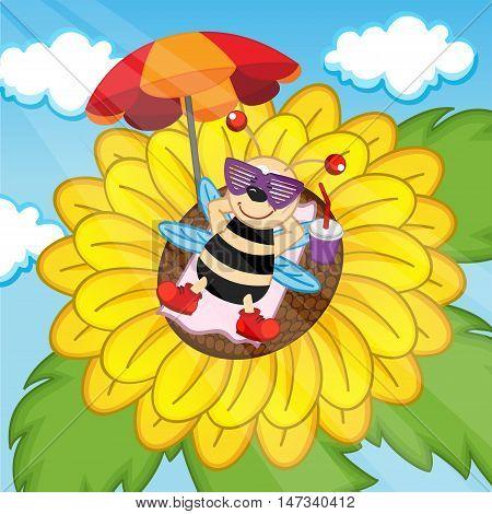 bee sunbathing on sunflower - vector illustration, eps