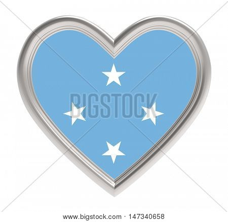 Micronesia flag in silver heart isolated on white background. 3D illustration.