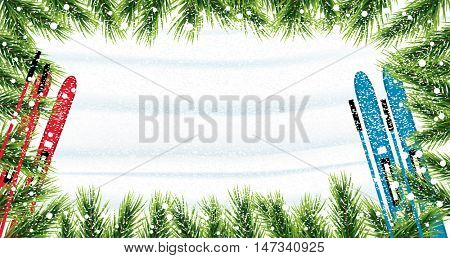 Christmas background with fir branches, snow and skiing. Snow top view. Vector illustration.