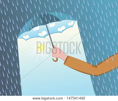 Man hand holding open umbrella. Rain drops downpour above umbrella. Good weather under the umbrella. Vector stock illustration.