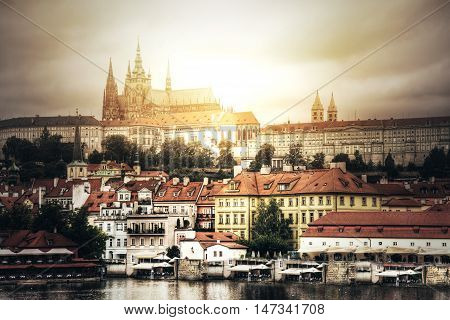 Prague. View of Hradcany with St. Vitus Cathedral and Castle of Prague.