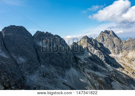 Amazing Rocky Mountain Ridge Under Blue Sky With White Clouds