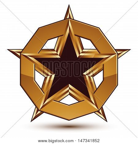 Golden geometric symbol stylized black star with golden borders placed in a glamorous ring best for use in web and graphic design refined vector icon isolated on white background.