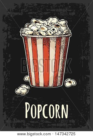 Carton bucket full popcorn with title. Vector color vintage engraving illustration isolated on black background. For menu, web, poster