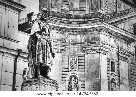 Monument of Charles IV Charles Bridge in Prague Czech Republic. Black&White picture.