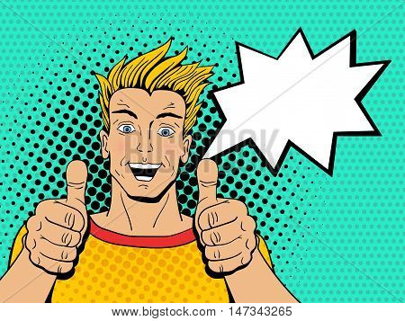 Happy Young Handsome Surprised Man Shows Thumb Up With Speech Bubble. Vector Illustration In Pop Art