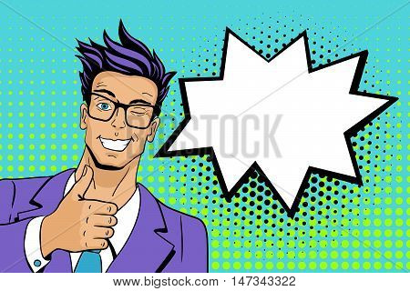 Pop Art Man. Young Hansome Man In Glasses Smiles, Winks And Shows Thumb Up . Vector Illustration In