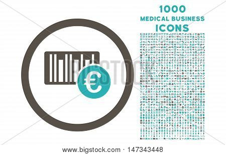 Euro Barcode rounded vector bicolor icon with 1000 medical business icons. Set style is flat pictograms, grey and cyan colors, white background.