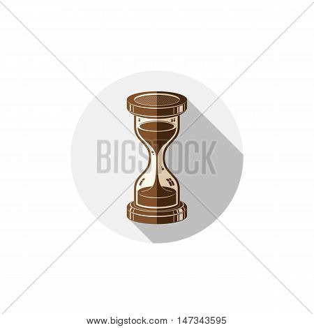 Old-fashioned simple 3d hourglass time management business icon. Time is running out conceptual symbol.