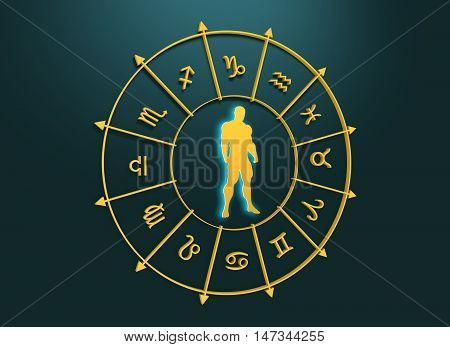 Golden astrological symbols in the circle. Muscular man silhouette. 3D rendering