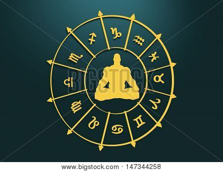Golden astrological symbols in the circle. Muscular man silhouette. Lotus position. 3D rendering