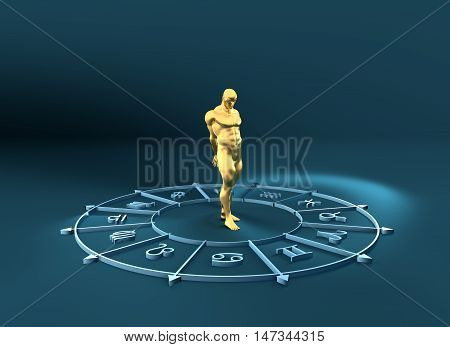 Golden astrological symbols in the circle. Muscular captured man standing in the center of the ring. 3D rendering. Metallic figure
