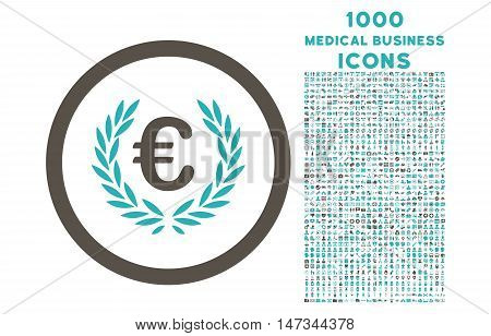 Euro Glory rounded vector bicolor icon with 1000 medical business icons. Set style is flat pictograms, grey and cyan colors, white background.