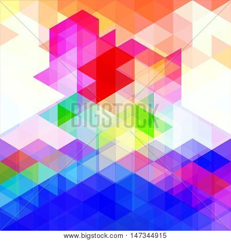 Abstract colorful background of polygons. Blue, yellow, pink, red and white triangular background of intersecting polygons