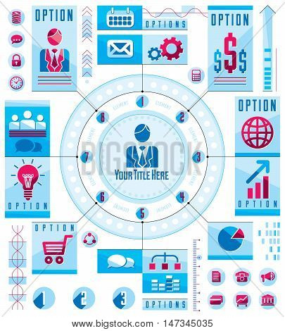 Infographics circular concept with lot of elements circle divided with sectors and lines vector illustration.