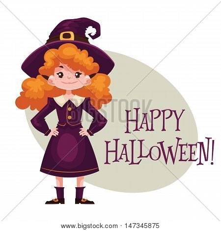 Happy girl dressed as witch for Halloween, cartoon style vector illustration isolated on white background. Little witch fancy dress idea. Trick or treat Halloween card