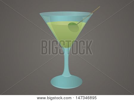 Blue martini glass with green olive and a drink stylized illustration