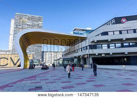 VIENNA, AUSTRIA - NOVEMBER 14, 2015:View on financial district in Vienna, Austria