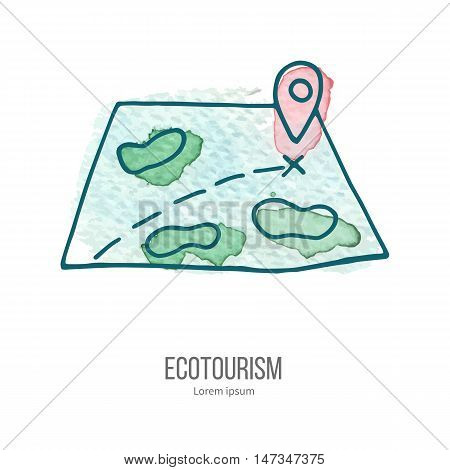 Map with ping. Ecotourism monochromatic line design element on hand painted abstract watercolor texture on white background.