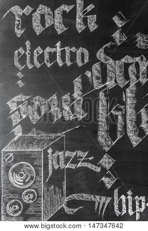 Chalkboard wall with hand-drawn music genres names