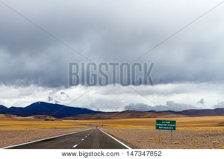 Shelter Sign On Route 60 In The Andes, Catamarca, Argentina