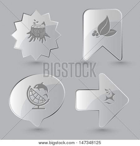 4 images: stub, leaf with berries, globe and shamoo, deer. Nature set. Glass buttons on gray background. Vector icons.